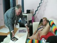 Young blonde masturbates and then gets fucked
