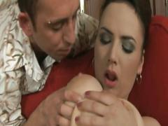 Czech brunette babe with big tits fucked hard on her trimmed pussy