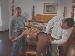 Hot blonde gets two big cocks and a dp