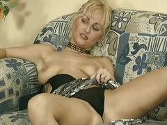 Busty blonde milf sucks his cock and gets banged