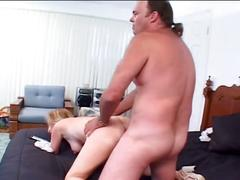 Hairy blonde chick loves fucking big hard cocks