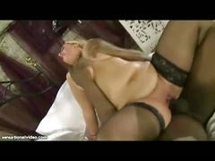 Curvy british wife rides big black cock while hubby films