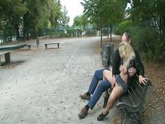 Hot blonde teen handjobs and gets fucked by a old dude in public