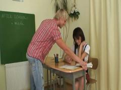 Two horny students fucking in the school room