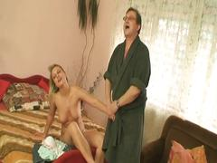 Young blonde chick fucks horny old dude