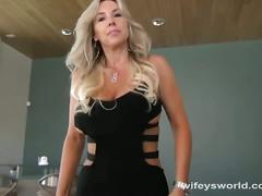 Blonde milf get some from her man's belly stick