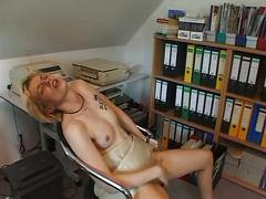 Office blonde fingers hot pussy
