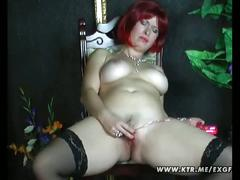 Busty amateur housewife home toying her shaved wet tasty pussy
