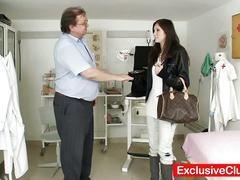 Petite blonde babe scarlet harrassed by horny grandpa gyno doctor
