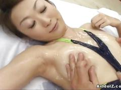 Asian babe oiled up and fucked hard
