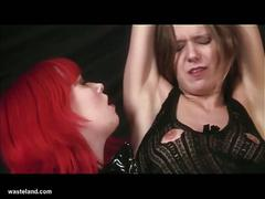 Pussy eating redhead lesbian mistress torturing sweet cunt brunette