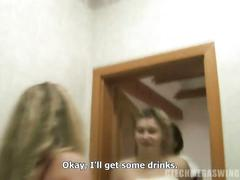 Nasty czech swingers have threesome in the bathroom