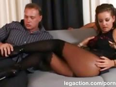 Sexy brunette karina anal fucked wearing hot black stockings
