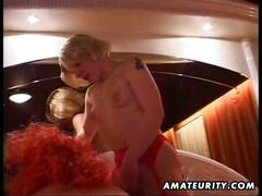 Horny amateur blonde milfs sharing big cock in hot threesome
