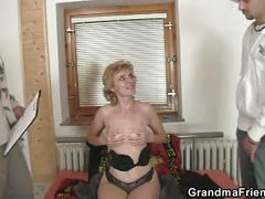 amateur, granny, mature, milf, old & young, pussy, threesome, 3some, homemade, mmf, old woman young man, shaved pussy