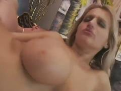 Busty blonde harlot gets nailed