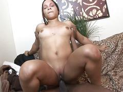 Hot ebony babe pounded by a hard black cock