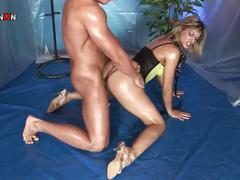 Hot slutty babe tries to pump hard cock
