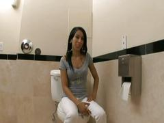 Lovely brunette fucked on the toilet