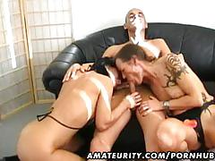 2 amateur lesbian girlfriends share one cock with facial