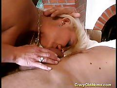 Crazy old mom gets hard fucked and takes cumshot load