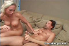 Blonde slut is getting fucked by two