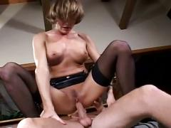Sexy milf sucks cock and gets nailed hard