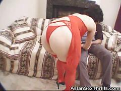 Cock sucking japanese in red dress