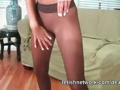 Her wet pantyhose pussy