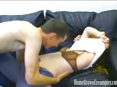 Hairy pussy blonde gets creampie'd