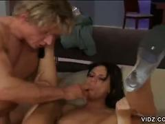 Hot brunette gets butt plugged with hard rod