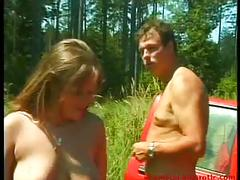 Big boobed emergency fuck outdoor on the road