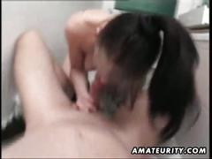 Amateur wife blows hubby's cock in the bathroom