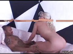 Blonde white chick digged by a black dick