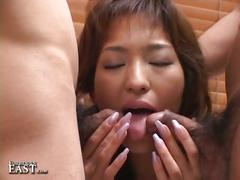 Naughty cute asian slut takes two sweet cocks in hot couch fuck