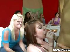 Hot amateur bitches sucking big hard cock in a crazy sex party