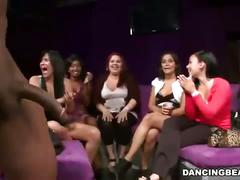 Lucky strippers getting their cock sucked by crazy horny bitches