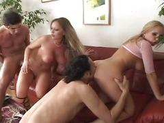 Two horny blonde bitches rammed hard by two horny dudes
