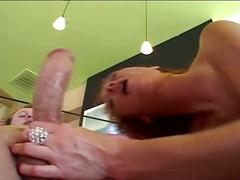 Redhead slut get pounded by two big cocks