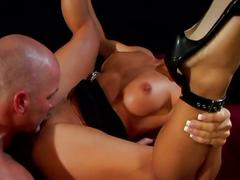 Hot busty brunette rides a hard cock as he fucks