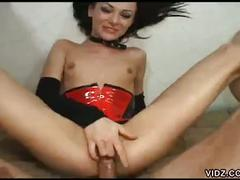 Skinny brunette chick rides huge cock in all her wet holes