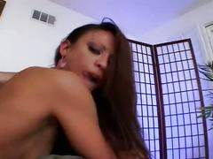 Horny latina sucking two cocks and getting pounded hard