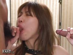 Asian slut takes two cocks at a time