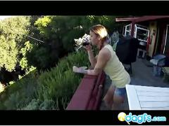 Sexy teen blowing dick on the balcony