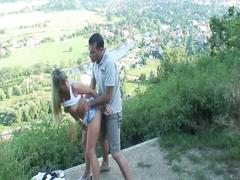 Naughty blonde temtpress fucks in public bus stop for erotic fun