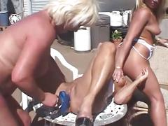 Trailer trash lesbian moms sizzling hot nasty outdoor threesome