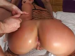 Three horny guys for nasty brunette slut