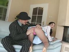Cigar smoking gangster gives brunette cutie an ass fucking