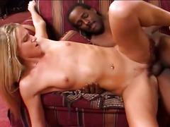 Blonde babe gets her pussy fucked hard and deep by a black dude