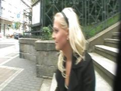 Blonde slut takes pulsating cock outdoors